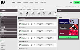 A View of the 10Bet Homepage