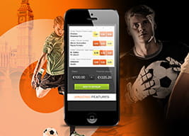 888sport mobile app with footballers in the background