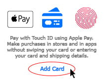 Credit or debit card being added to an Apple Pay wallet