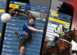 Three BetBright mobile apps with a footballer and horse imposed over the top