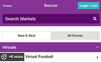 Football bets directory on the Betdaq mobile app