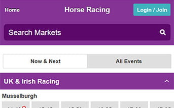 Horse racing betting directory on Betdaq mobile app