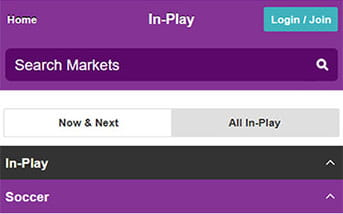 Live betting directory on the Betdaq mobile app