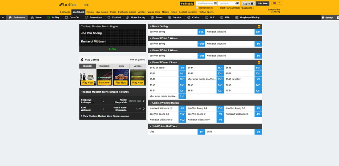 Badminton live betting is online sports betting illegal in california