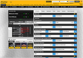 Betfair in-play basketbal platform showing an event