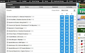 A view of the betfair betting schedule