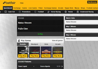 Betfair in-play eSports betting arena