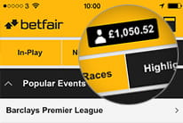 Betfair mobile homescreen displaying the balance of the account