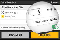 The betslip for a single bet stake at betfair mobile