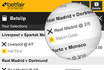 Betfair multiples betslip displaying an accumulator of selections