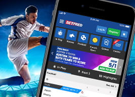 Betfred mobile app with a footballer in the background