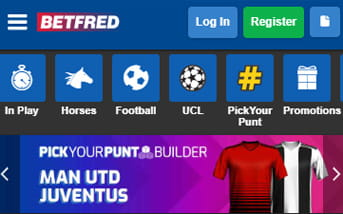 Navigation menu bar at Betfred mobile app