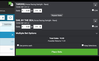 BetVictor's app betting slip is easy to read