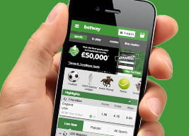 Betway mobile app held in a hand
