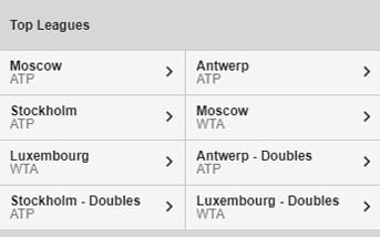 Tennis directory at Betway mobile app
