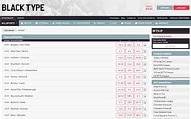 A view of the Blacktypebet sports betting portal