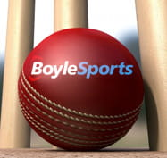Cricket ball and stumps with the BoyleSports logo