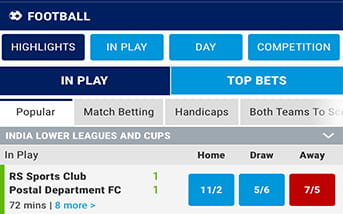 the type of football markets and bets on BoyleSports navigation menu.