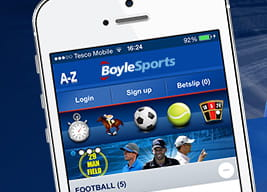 A close-up of the BoyleSports mobile app