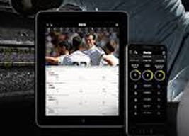 The bwin mobile app shown on two devices with a close-up of a footballer in ther background