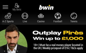 Navigation menu bar at bwin mobile app