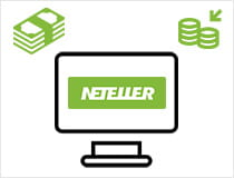 A computer with Neteller on it surrounded by notes and coins