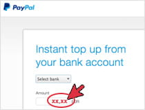 Fund your PayPal account with cash
