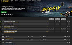 A view of the energybet sports betting portal