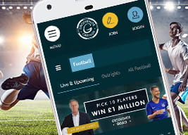 Grosvenor mobile app with footballers playing in the background