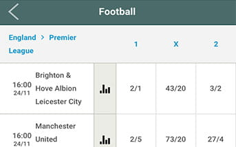 Football bets at Guts mobile web app