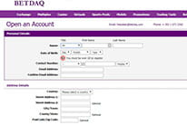 BETDAQ registration form