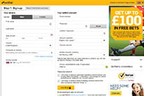 Betfair registration form