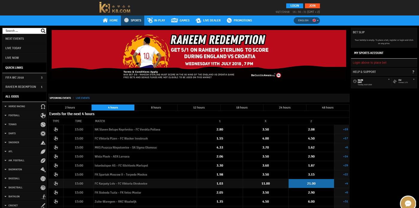 K8 Sports Betting