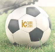 A football with the K8 sportsbook logo printed on the ball