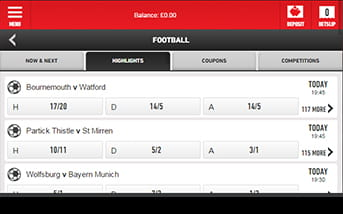 Check out the numerous football markets and bets on Ladbrokes' mobile version