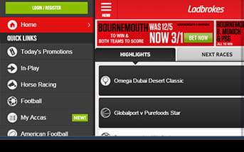 Navigation is easy using the ladbrokes app