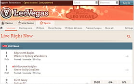 A view of the LeoVegas in-play betting console