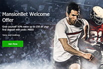 The MansionBet welcome offer, represented by a soccer and an American football player running forward