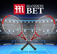 Two tennis rackets with the MansionBet logo