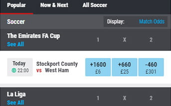 Football bets directory on the Matchbook mobile app