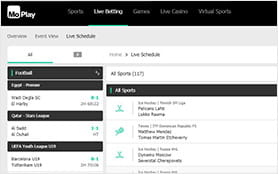 The live betting calender at the MoPlay sportsbook
