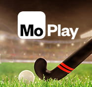 Field hockey stick and ball with MoPlay logo