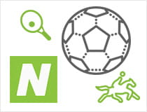 A football, tennis racket and jockey riding a horse next to the Neteller logo