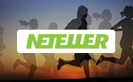 A silhouette of people running behind the Neteller logo