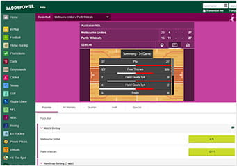 Paddy Power in-play basketball platform showing an event