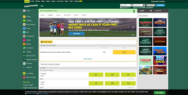 Paddy Power in-play Gaelic sports platform
