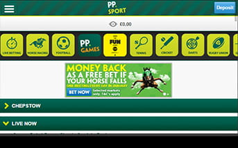 Paddy Power mobile app home screen