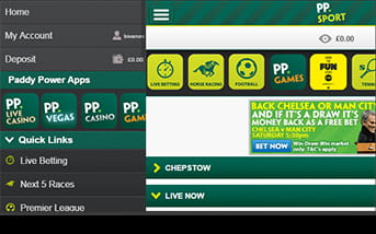 Navigation is easy using the Paddy Power app
