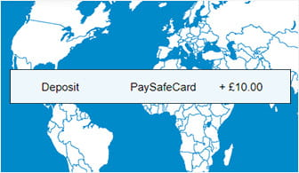 paysafecard deposits can be made anywhere in the world