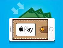 Apple Pay on an iPhone with lots of money around it